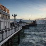 Starling murmuration over Brighton pier during Winter sunset. — Stock Photo #40587395