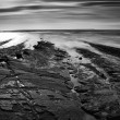 Beautiful black and white landscape of rocky shore at sunset — Stock Photo #41496629