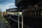 Vintage old train locomotive crane equipment — Stock Photo