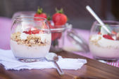 Delicious fresh strawberries and yoghurt breakfast — Photo
