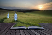 Book concept Concept landscape young boys walking through field — Stock Photo