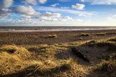 голубое небо лета пляж закат пейзаж — Стоковое фото
