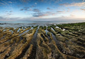 Panorama landscape looking out to sea with rocky coastline and b — Stock Photo