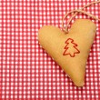 Heart on tablecloth — Stock Photo
