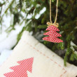 Fabric christmas tree — Stock Photo
