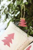 Fabric christmas tree — Stock Photo