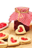 Heart shaped cookies & Jam in bank — Stock Photo