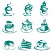 Stock Vector: Vector collection of cakes and Cupcakes