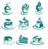 Vector collection of cakes and Cupcakes — Stock Vector