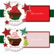 Stock Vector: Christmas banners with cupcake
