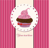 Card with cup cake — Stok Vektör
