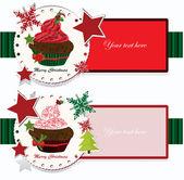 Christmas banners with cupcake — Stock Vector