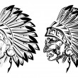 American Indian chief tattoo — Stock Vector