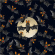 Halloween seamless pattern with cute cartoon bats — Vector de stock