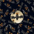 Halloween seamless pattern with cute cartoon bats — Stockvektor