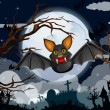 Stock Vector: Cartoon Halloween bat flying