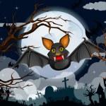 Cartoon Halloween bat flying — Stock Vector