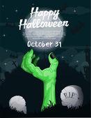 Cartel de zombie de halloween — Vector de stock