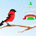 Christmas background with Bullfinch bird — Stock Vector #36812899