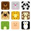 Animal icon set — Vector de stock