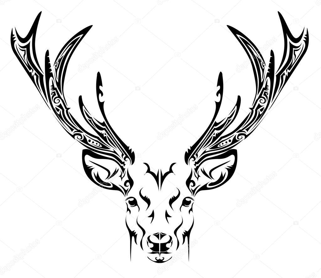 鹿头线条纹身手稿内容图片分享