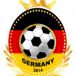 Soccer ball on Germany flag — Stock Vector