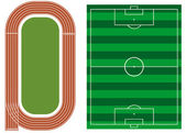 Athletics track with soccer field — Stock Vector