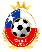 Soccer ball on Chile flag — Stock Vector