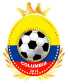 Soccer ball on Columbia flag — Stock Vector