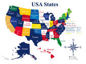 USA map with states and capital cities — Stock vektor