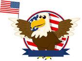 Cute cartoon American bald eagle — Stock Vector