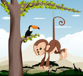 Monkey and a bird in a tree — Stock Vector