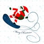 Santa Claus on snowboard — Stock Vector #6600996