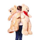 Girl with plush bears portrait — Stock Photo