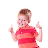 Happy boy with super sign — Stockfoto