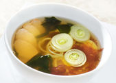 Soup with meat and noodles — Stock Photo