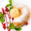 Strudel with ice cream decorated with mint leaves — Stock Photo