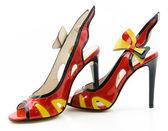 セクシーな女性の高いヒール スティレット sandals.isolated 白 — ストック写真