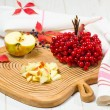 Red apples with cranberry — Stock Photo
