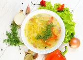 Zupa z kurczaka z warzywami — Zdjęcie stockowe