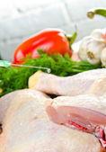 Syringe and chicken — Stock Photo