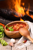 Ukrainian and russian national red borsch — Stock Photo