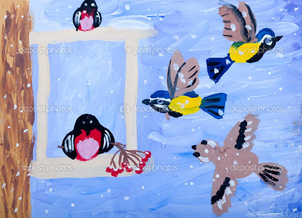 Детские картинки на тему птицы зимой