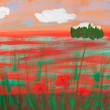 Stock Photo: Child's picture of summer poppy field