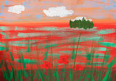 Child's picture of summer poppy field — Stock Photo