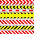 Set of Caution Tapes and Warning Signs, SEAMLESS Stripes — Stock Photo