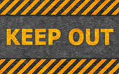 Grunge Black and Orange Pattern with Warning Text (Keep Out) — Stock Photo