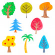 Stock Photo: Set of Colorful Trees, Watercolor Drawn, Isolated