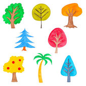 Set of Colorful Trees, Watercolor Drawn, Isolated — Stock Photo