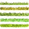 Royalty-Free Stock Photo: Set of Grass Border Pieces, Watercolor Hand Painted, Isolated on White